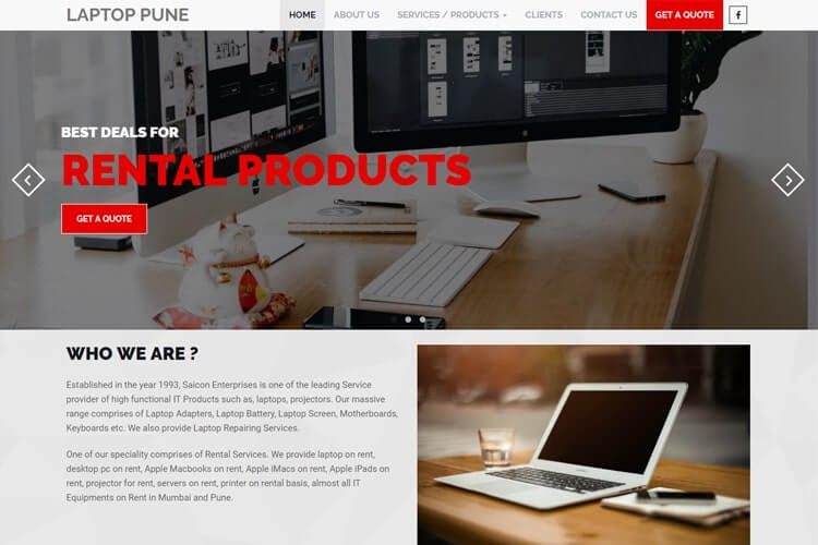 Laptop pune website design sample